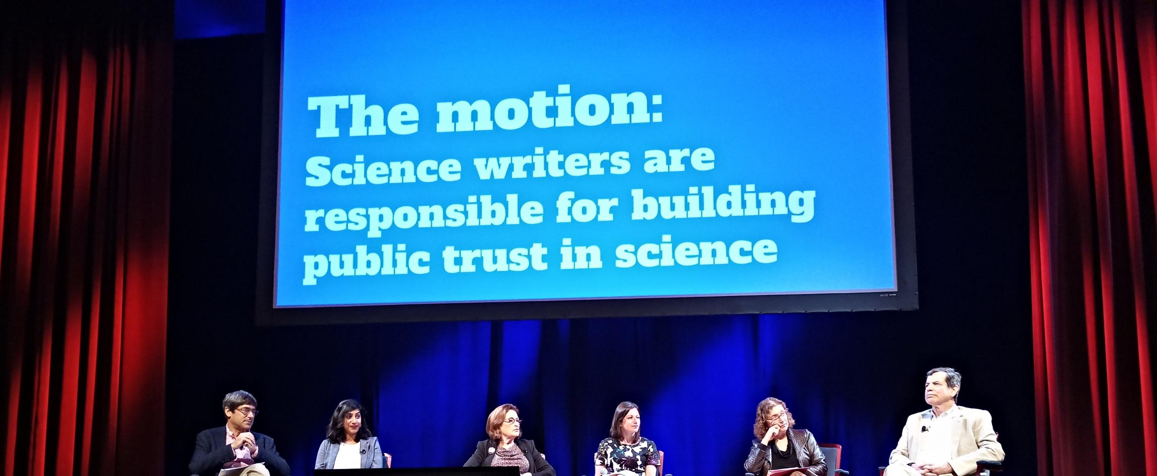 ScienceWriters 2018 panel: In the Trump era, whose job is it to build public trust in science?