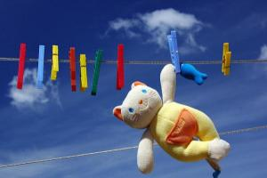 Teddy bear on clothesline