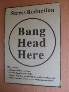 "Sign on wall: ""Bang head here"""