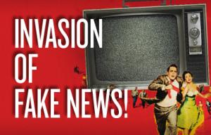 "Poster reading ""invasion of fake news"""