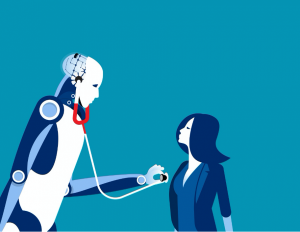 A stock illustration of a robot doctor