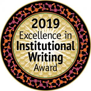 An image of the Excellence in Institutional Writing award logo