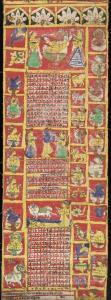 Fabric Hindu calendar/almanac corresponding to Western years 1871-1872. From Rajasthan in India.