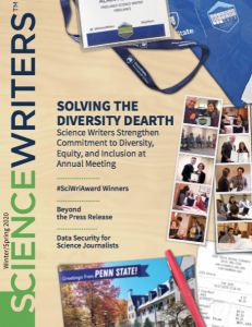 An image of the cover of ScienceWriters magazine