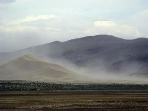 Sand Mountain in a windstorm. Photo by Silver Fox