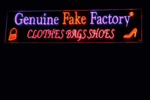 """Genuine fake factory"" sign"