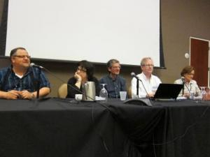Left to right: Steve Silberman, Deborah Blum, Bora Zivkovic, Alan Boyle, and Cristine Russell (moderator)