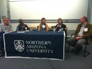 Left to right: Gary Taubes, Jeanne Lenzer, Christie<br>Aschwanden, Jennifer Kahn, Brian Vastag