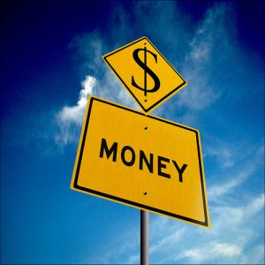"Roadsign reading ""money"""