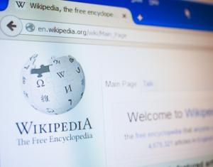 Wikipedia front page, image via Shutterstock