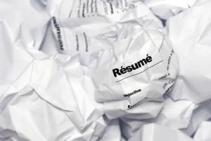 Crumpled resume image via Shutterstock