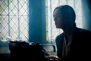 Writer at typewriter