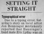 Newspaper correction clipping