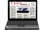 Fake news on laptop